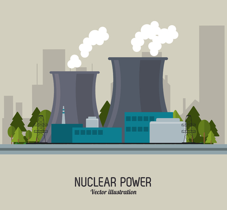 nuclear plant: Nuclear plant power trees industry building chimney icon. Flat and Colorfull illustration. Vector graphic Illustration