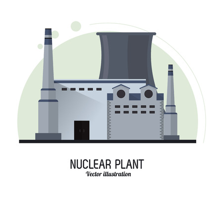 nuclear plant: Nuclear plant power industry building chimney icon. Flat and Colorfull illustration. Vector graphic Illustration