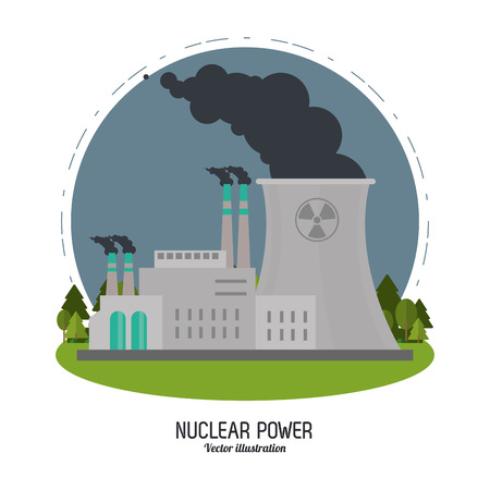 clipart chimney: Nuclear plant power biohazard smoke industry building chimney icon. Flat and Colorfull illustration. Vector graphic