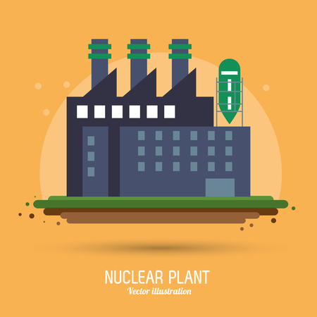clipart chimney: Nuclear plant power industry building chimney icon. Flat and Colorfull illustration. Vector graphic Illustration