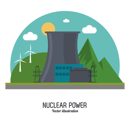 nuclear plant: Nuclear plant power windmill sun cloud landscape mountain industry building chimney icon. Arch and Colorfull illustration. Vector graphic