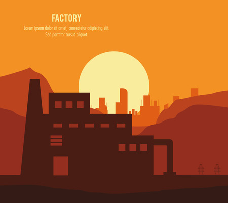 chimney: Plant sun landscape building chimney factory industry icon. Silhouette illustration. Vector graphic