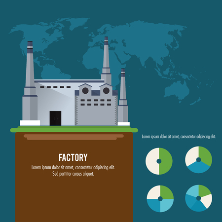 chimney: Plant infographic map earth building chimney factory industry icon. Flat and Colorfull illustration. Vector graphic Illustration
