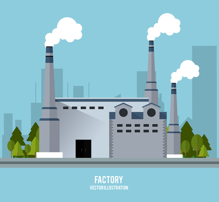 chimney: Plant trees building chimney factory industry icon. Blue background and Colorfull illustration. Vector graphic