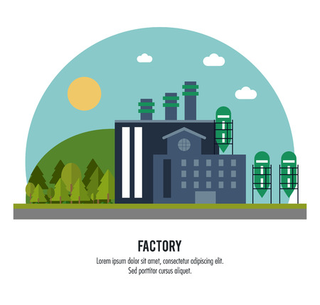 chimney: Plant circle trees sun building chimney factory industry icon. Flat and Colorfull illustration. Vector graphic
