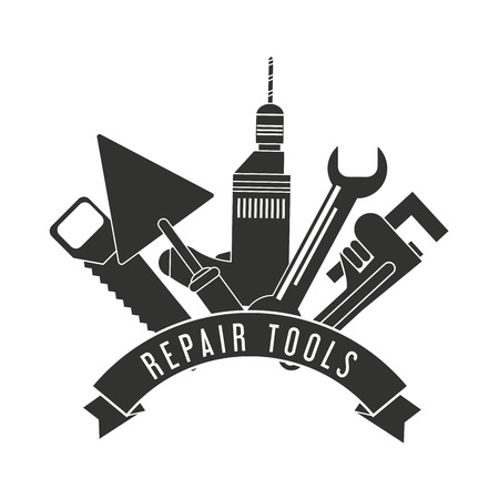 Drill spatula saw wrench tool icon. Repair construction concept. Isolated illustration. Vector graphic
