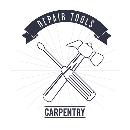Hammer screwdriver tool icon. Repair construction concept. Isolated illustration. Vector graphic Illustration