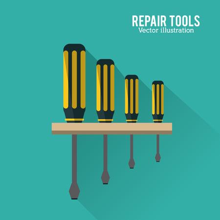 Schraubendreher-Werkzeug-Symbol. Reparatur Baukonzept. Blauer Hintergrund und Colorfull-Illustration. Vektorgrafik