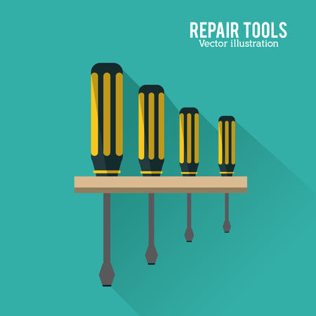 Screwdriver tool icon. Repair construction concept. Blue background and Colorfull illustration. Vector graphic