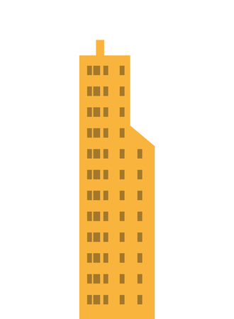 tall building: flat design single tall building icon vector illustration