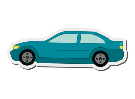 flat design car sideview icon vector illustration