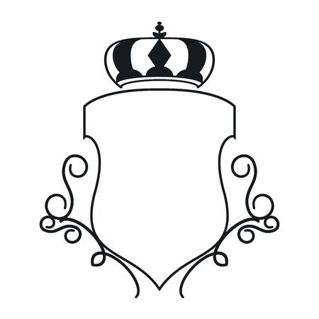 flat design decorative vintage frame with crown icon vector illustration