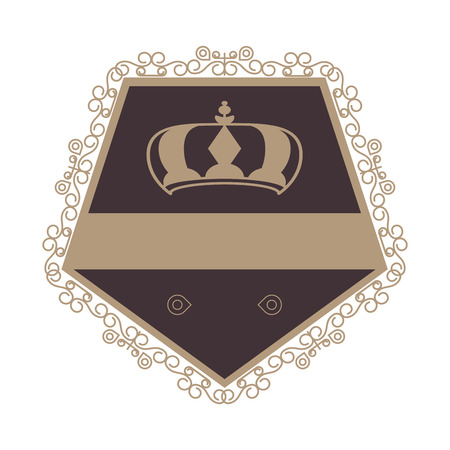 whorl: flat design decorative vintage frame with crown icon vector illustration