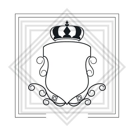 lacework: flat design decorative vintage frame with crown icon vector illustration