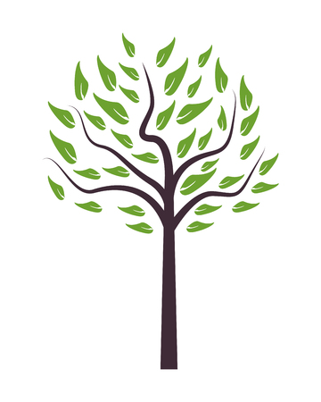illustration isolated: flat design single tree icon vector illustration Illustration