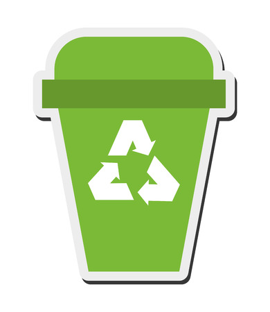 flat design recycle bin icon vector illustration