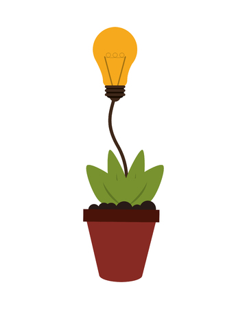 lightbulb idea: flat design plant and lightbulb idea icon vector illustration Illustration