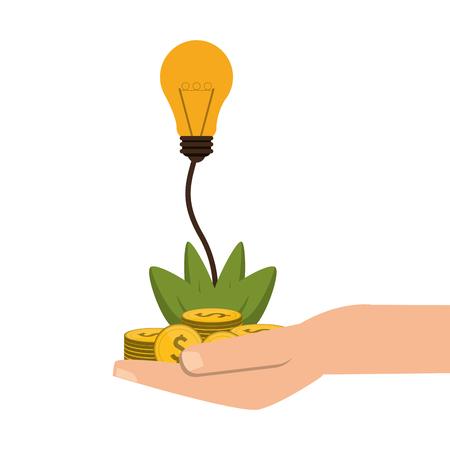 gesticulation: flat design shelter hand with plant money lightbulb idea icon vector illustration Illustration