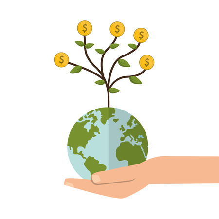 gesticulation: flat design shelter hand with earth globe money tree icon vector illustration