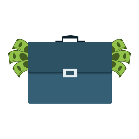 awarded: flat design briefcase full of money icon vector illustration