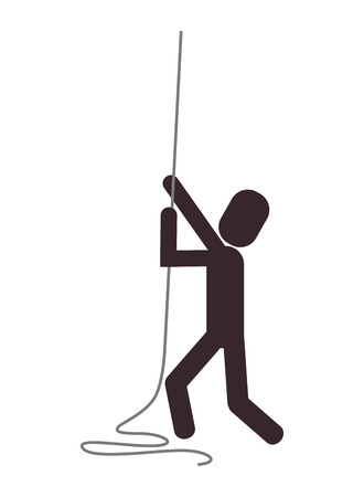 flat design person climbing rope icon vector illustration Illustration