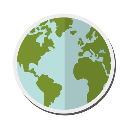 flat earth: flat design earth globe icon vector illustration