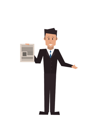 documentation: flat design businessman holding paper document icon vector illustration