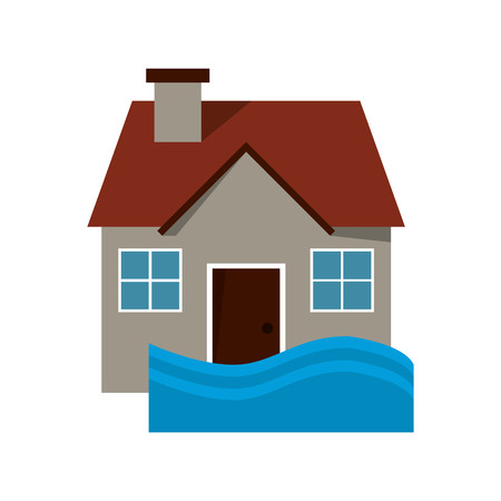 torrent: flat design house flood icon vector illustration