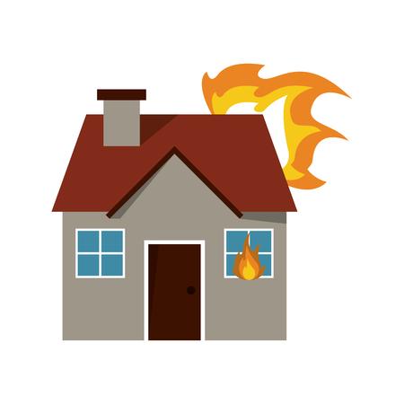flat design house on fire icon vector illustration Illustration