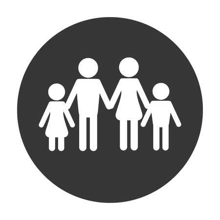 foster: flat design traditional family pictogram icon vector illustration