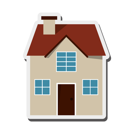 frontview: flat design house frontview icon vector illustration