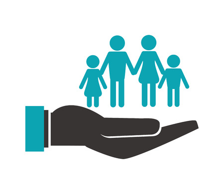 shelter: flat design shelter hand with family icon vector illustration