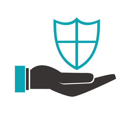 gesticulation: flat design shelter hand with shield icon vector illustration