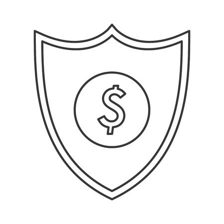 dollar sign icon: flat design shield dollar sign icon vector illustration Illustration