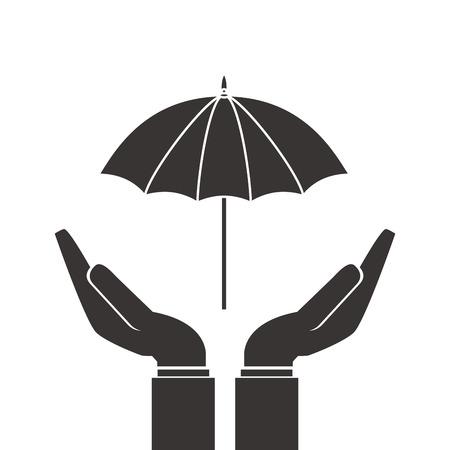 gesticulation: flat design shelter hand with umbrella icon vector illustration Illustration
