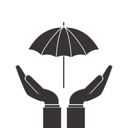 flat design shelter hand with umbrella icon vector illustration Illustration
