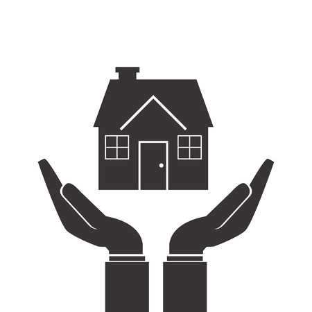 gesticulation: flat design shelter hand with house icon vector illustration