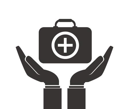 gesticulation: flat design shelter hand health icon vector illustration Illustration