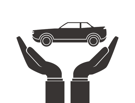 gesticulation: flat design shelter hand with car icon vector illustration