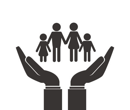 gesticulation: flat design shelter hand with family icon vector illustration