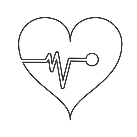 cardiogram: flat design heart cardiogram icon vector illustration