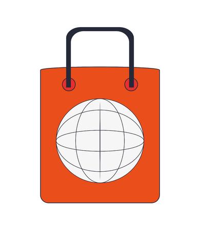 shopping bag icon: flat design global shopping bag icon vector illustration