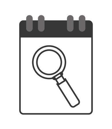 wired: flat design wired notebook with magnifying glass icon vector illustration