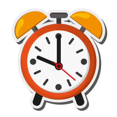 flat design alarm clock icon vector illustration