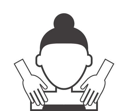 flat design woman getting massaged icon vector illustration