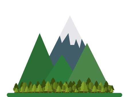 pine forest: flat design mountains and forest icon vector illustration Illustration