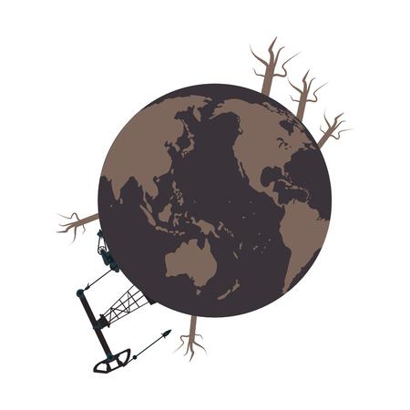 the greenhouse effect: flat design earth contamination icon vector illustration Illustration