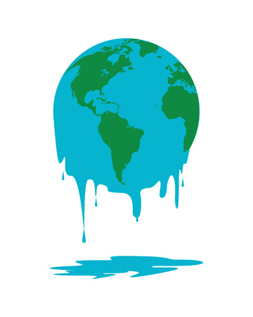 the end of the world: flat design melting world icon vector illustration Illustration