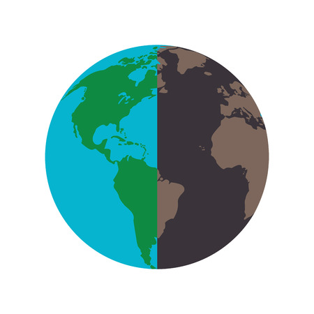 polluted: flat design healthy and polluted earth icon vector illustration