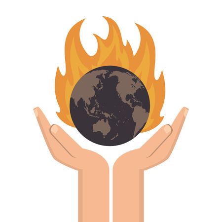 scorching: flat design earth globe on fire icon vector illustration